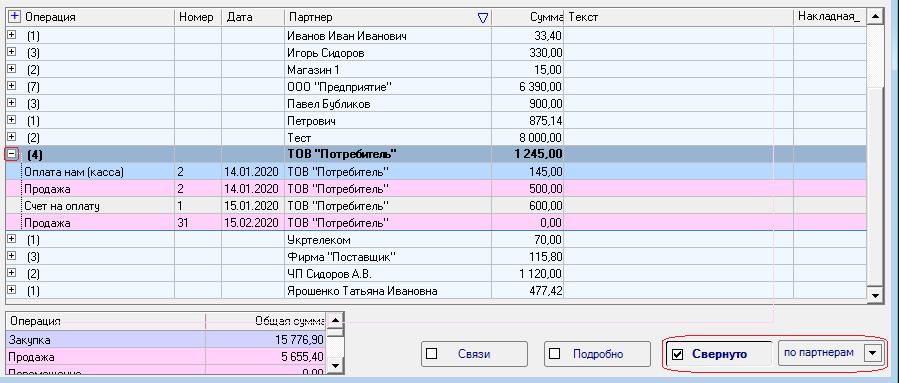 """У списку документів можна включити режим """"згорнути"""" (по партнерам, по датах, по операціях)."""