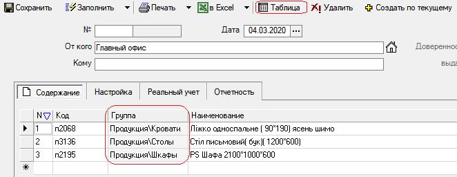 "В любом документе через настройку таблицы можно включить столбец ""Группа товара"""